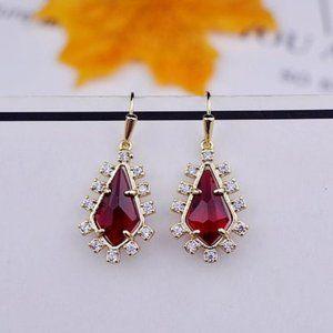 💖Vintage Colorful Gemstone Diamond Red Earrings